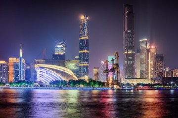 Night view of skyscrapers and the Pearl River. Guangzhou skyline