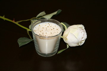 CANDLE AND ROSE WHITE