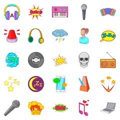 Audio icons set, cartoon style