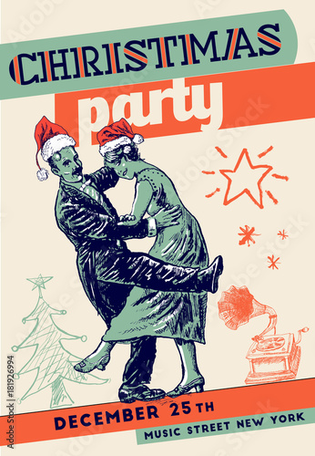 Christmas retro party poster template  Private dancers