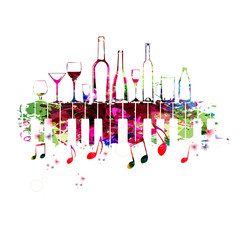 Music colorful design with piano keys and bottles. Music instrument vector illustration. Piano keyboard instrument background with bottles for restaurant poster, restaurant menu, wine tasting event