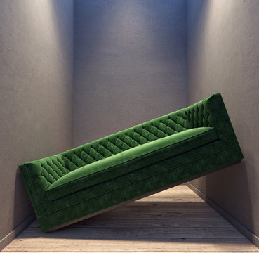 Green sofa stuck in between the walls in the small room apartment 3D Rendering