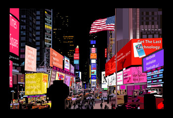 Zelfklevend Fotobehang Art Studio Times Square at night