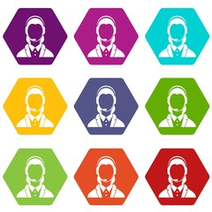 Support phone operator in headset icon set color hexahedron