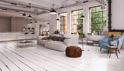 modern vintage industrial Loft Apartment - moderne Loft Wohnung mit Sofa und Fenster