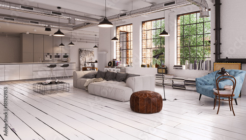 modern vintage industrial loft apartment moderne loft wohnung mit sofa und fenster. Black Bedroom Furniture Sets. Home Design Ideas