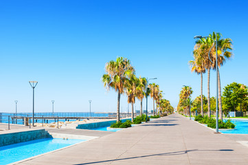 Beautiful sea promenade in Limassol, Cyprus Wall mural