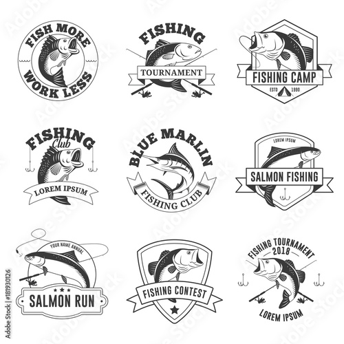 Set of vintage fishing badges labels emblems logo stickers isolated on white