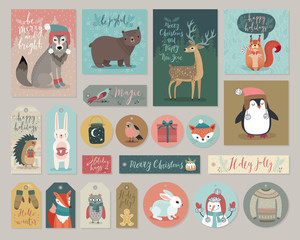 Wall Mural - Christmas cards and gift tags set, hand drawn style.