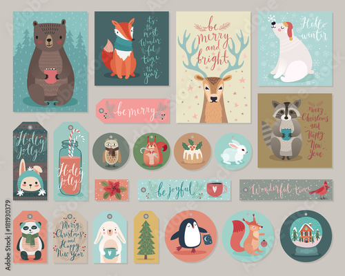 Wall mural Christmas cards and gift tags set, hand drawn style.