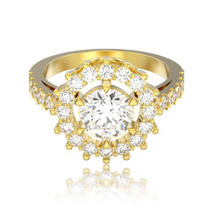 3D illustration isolated yellow gold solitaire decorative diamond ring with reflection