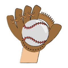 Baseball leather glove and ball