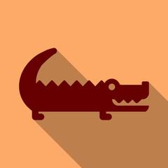 Cute cartoon crocodile in modern geometric flat vector style. Simple and adorable smiling alligator illustration.