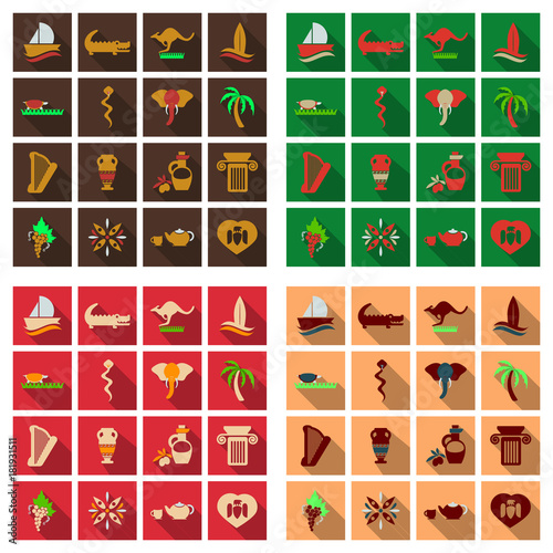 Set of vector images on the theme of ancient Greece  They can be