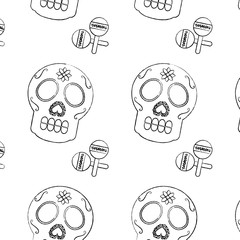 mexican skull and maracas folk culture seamless pattern image vector illustration