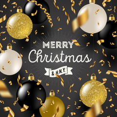 Christmas greeting vector illustration - Golden foil confetti and white and glitter gold Christmas baubles.