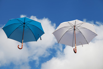 Floating Umbrellas in Blue and White