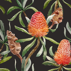 Watercolor tropical australian pattern