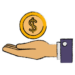 hand with coin money vector illustration design
