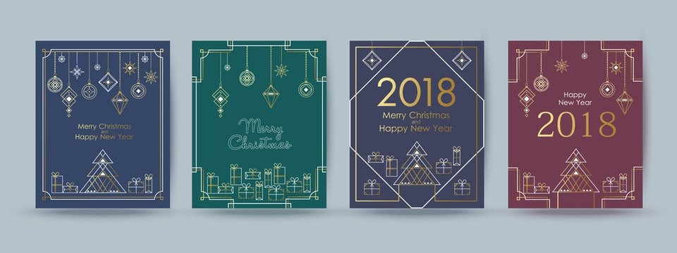 Christmas and New Year typographical card