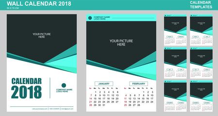 Vector design of wall calendar template for 2018 with place for your picture. 2 Months per page