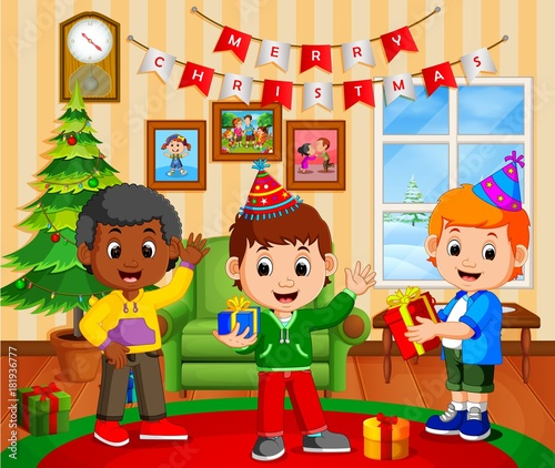 Cute Kids In The Living Room During Christmas Stock Image And
