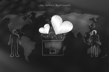 Long distance relationships laptop with lovehearts over world map in between couple