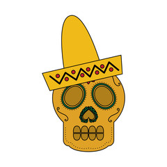 skull in hat day of the dead mexican celebration vector illustration