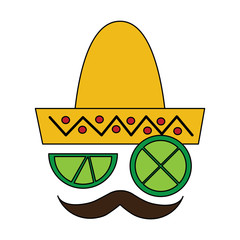 mexican hat and mustache with slice lemon culture symbol vector illustration