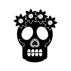 skull flowers the day of the death mexican traditional culture vector illustration
