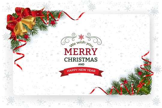 Christmas And New Year Greeting Card.Christmas background with decoration and paper. Decorative Christmas festive background with bells stars and ribbons.