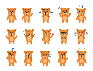 Set of funny yellow puppy characters showing different emotions. Cheerful dog pup laughing, crying, dazed, sleeping and showing other facial expressions. Flat style vector illustration