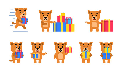 Set of funny yellow puppy characters posing with gift box in different situations. Cheerful dog pup holding gift box, running and showing other actions. Flat style vector illustration