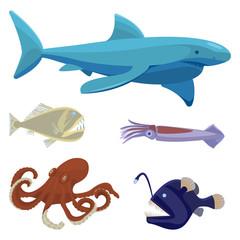 Deep sea dangerous unusual creatures isolated illustrations set