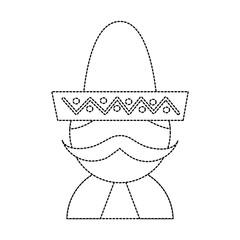 man with sombrero mexico culture icon image vector illustration design  black dotted line