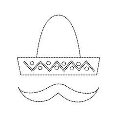 sombrero hat with mustache mexico culture icon image vector illustration design  black dotted line