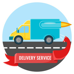 Delivery service placard with car on vector illustration