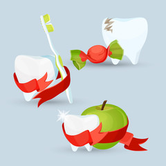 Dental care set of images on vector illustration