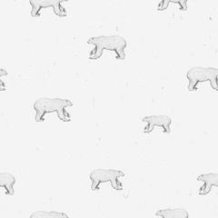 Polar bear cute sketch line art seamless pattern on gray grunge background. Cute graphic animal illustration. Design for fabric, textile, decor.