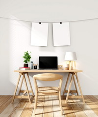 Working room with empty Frame hanging on wall modern minimalist interior,3D rendering
