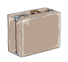 Brown Luggage, Suitcase,vintage hand drawn cute vector art illustration