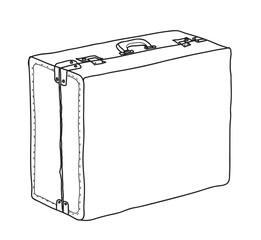 Luggage, Suitcase,vintage hand drawn cute vector line art illustration