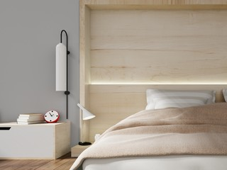 Modern bedroom bright interior with wooden wall . 3D rendering