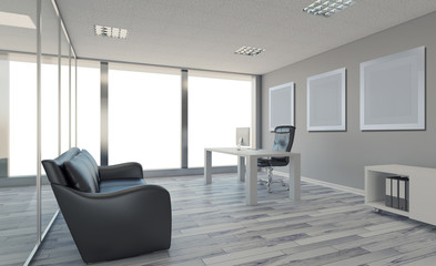 Modern office Cabinet. Meeting room. 3D rendering., Empty picture