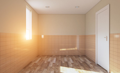 Modern bathroom with large window. 3D rendering.. Lights in the window.