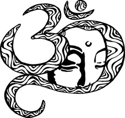 The face of the Buddha is inscribed in the om. Black and white illustration. Buddhism.