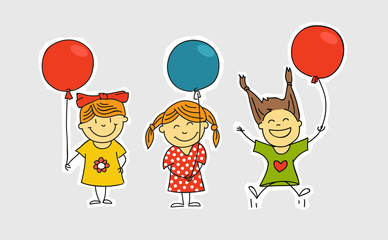 Different girls with color balloons