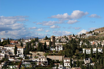 View of the city Granada from the Alhambra Palace / Andalucia, Granada, Spain