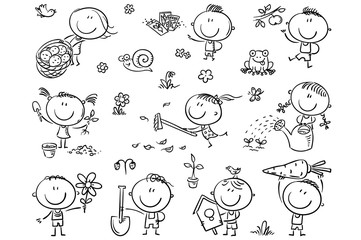 Wall Mural - Doodle kids in the garden, watering, planting and gathering harvest.