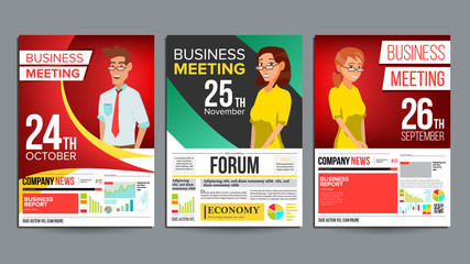 Business Meeting Poster Set Vector. Businessman And Business Woman. Invitation And Date. Conference Template. A4 Size. Cover Annual Report. Green, Red, Yellow. Chart And Graph Statistics. Illustration